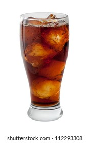 Soda Cola with Ice Isolated on white with a clipping path