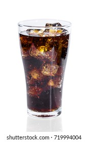 soda in glass with ice isolated  on white background .