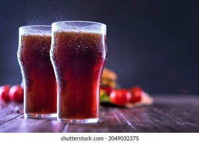 Soda Glass and Tomatoes On the Table, Pepsi and Cocacola with dark, Black Background Stock - image | shutterstock