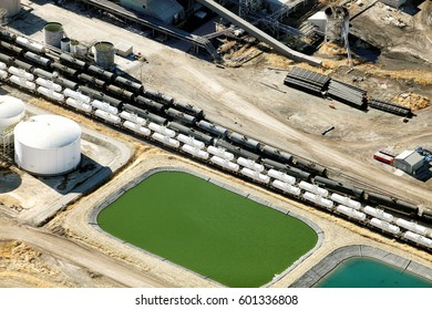 Soda Springs, Idaho, USA Nov. 7, 2012 An aerial view of the water treatment facility at a phosphate mine
