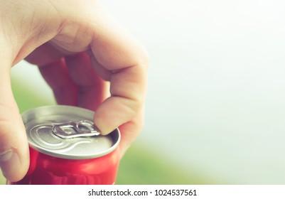 Soda water in an aluminum bottle