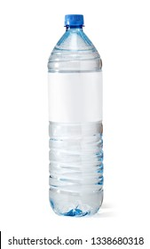 Soda water bottle with blank label. Isolated on white with clipping path