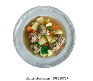 Sodd is a traditional Norwegian soup-like meal with mutton and meatballs