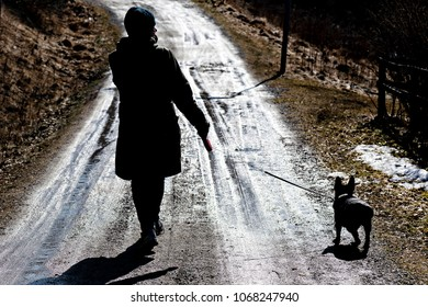 SODERTALJE, SWEDEN, APRIL, 2, 2018: Silhouette of a woman walking with her french bulldog at a wet spring road.