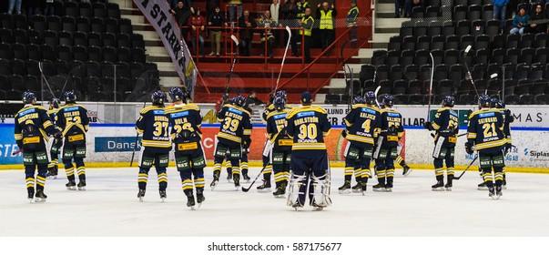 Sodertalje, Sweden - January 15, 2017:  Happy SSK players after they won the Ice hockey match with 3-2 in hockeyallsvenskan between SSK and MODO in the sports complex Scaniarinken