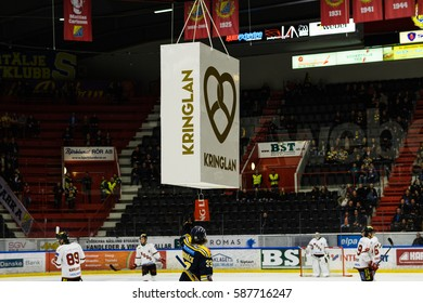 Sodertalje, Sweden - January 15, 2017: Mans Lindback, SSK scores the first goal in Ice hockey match and got a prize for that, in hockeyallsvenskan between SSK & MODO in the sports complex Scaniarinken