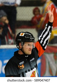 Sodertalje, Sweden - January 15, 2017: Hockey referee hold up his arm in the Ice hockey match in hockeyallsvenskan between SSK and MODO in the sports complex Scaniarinken