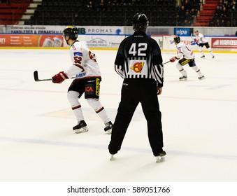 Sodertalje, Sweden - January 15, 2017:  Hockey referee, ice hockey match in hockeyallsvenskan between SSK and MODO in the sports complex Scaniarinken