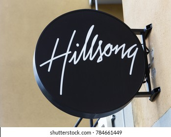 Sodertalje, Sweden - July 20, 2017: The Hillsong church sign at the entrance to the church located at the Oxbacksgatan street.