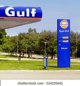 Sodertalje, Sweden - June 21, 2013: Gulf gas station at Brolundavaggen.