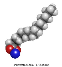 Sodium palmitate soap molecule. Prepared from palm oil by saponification. Atoms are represented as spheres with conventional color coding: hydrogen (white), carbon (grey), sodium (blue), oxygen (red).