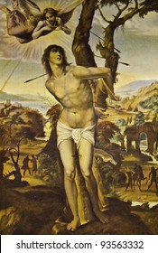 """Sodoma """"Saint Sebastian"""". Reproduction from illustrated Encyclopedia «Art galleries of Europe», Partnership «M. O. Wolf», St. Petersburg - Moscow, Russia , 1901"""