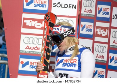 SOELDEN AUSTRIA OCT 25, Chemmy Alcott GBR after competing in the womens giant slalom race at the Rettenbach Glacier Soelden Austria, the opening race of the 2008/09 Audi FIS Alpine Ski World Cup