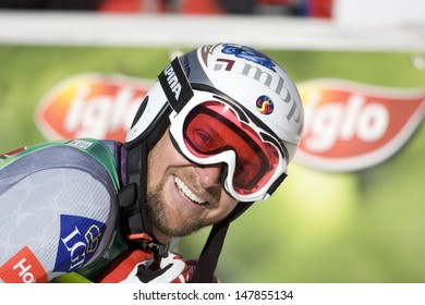 SOELDEN AUSTRIA OCT 26, Marco Buechel LIE with a big smile after the mens giant slalom race at the Rettenbach Glacier Soelden Austria, the opening race of the 2008/09 Audi FIS Alpine Ski World Cup