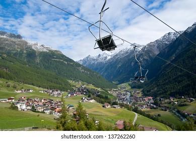 Soelden high Alps ski resort off-season, Otztal, Austria