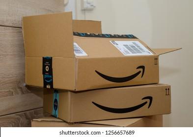 Soest, Germany - December 12, 2018: Amazon Prime cardboard box.