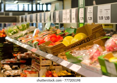 Soest, Germany - December 16, 2017: Shelves with food in LIDL. LIDL Stiftung & Co. KG.