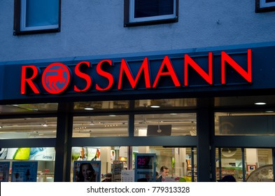 Soest, Germany - December 19, 2017: Rossmann store. Rossmann is Germany's second-largest drug store  with other 3,600 stores in Europe.