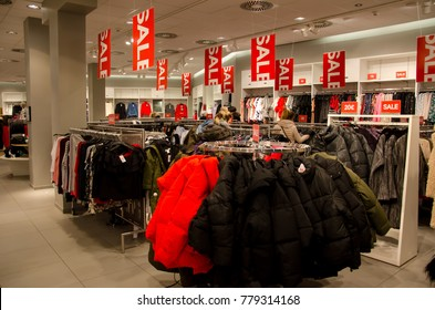 Soest, Germany - December 19, 2017: Buyers in H&M clothing store. H&M Hennes & Mauritz AB is a Swedish multinational clothing-retail company, clothing for men, women, teenagers and children.
