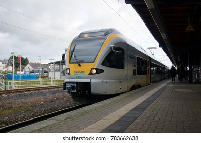 Soest, Germany - December 26, 2017: Eurobahn train (Regional Train) at the railway station.