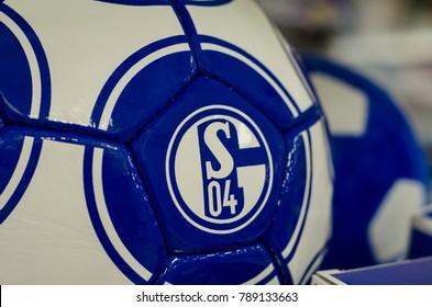 Soest, Germany - December 27. 2017: Ball with logo FC Schalke 04