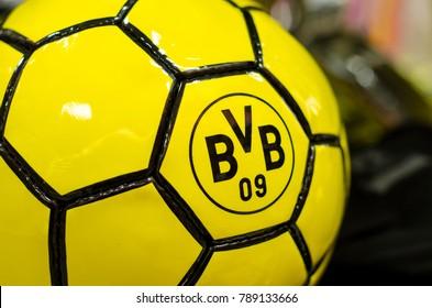 Soest, Germany - December 27, 2017:  Ball with logo FC Borussia Dortmund (BVB)