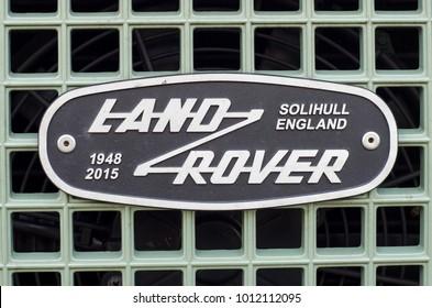 Soest, Germany - January 10, 2018: Land Rover Grille Emblem Badge.