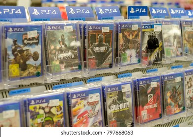 Soest, Germany - January 12, 2018: Sony PlayStation 4 games for sale in the Müller supermarket. PlayStation  is a gaming brand that consists of four home video game consoles.