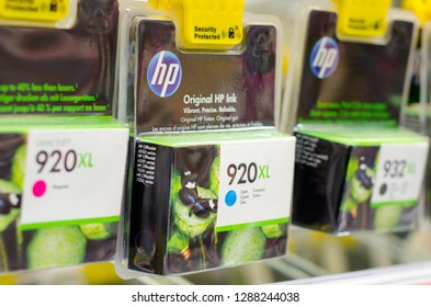 Soest, Germany - January 12, 2019: HP Ink Cartridges for sale.