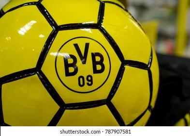 Soest, Germany - January 2, 2018: Ball with logo FC Borussia Dortmund (BVB)