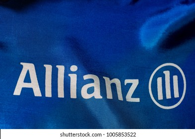 Soest, Germany - January 3, 2018: Close-up Flag of Allianz. Allianz SE is a European financial services company headquartered in Munich, Germany.