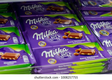 Soest, Germany - January 3, 2018: Milka Chocolate for sale in the supermarket. Milka is a brand of chocolate confection which originated in Switzerland in 1901.