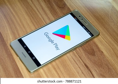 Soest, Germany - January 4, 2018: Google Play logo on screen of Huawei P9 lite. Google Play (formerly Android Market) is a digital distribution service operated and developed by Google.