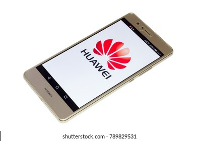Soest, Germany - January 4, 2018: Huawei logo on screen of Huawei P9 lite. Huawei Technologies Co., Ltd. is a Chinese multinational networking and telecommunications equipment and services company.