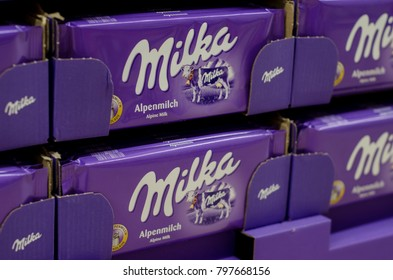 Soest, Germany - January 8, 2018: Milka Chocolate for sale in the supermarket. Milka is a brand of chocolate confection which originated in Switzerland in 1901.