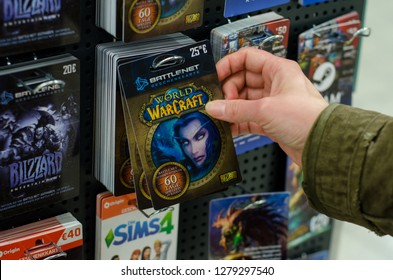 Soest, Germany - January 8, 2019: World of Warcraft Cards for sale in the shop.