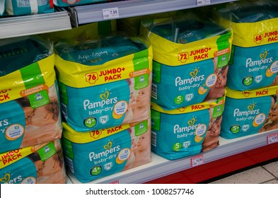 Soest, Germany - January 9, 2018: Pampers pack for sale in the Rossmann store. Pampers is an American name brand of baby and toddler products marketed by Procter & Gamble.