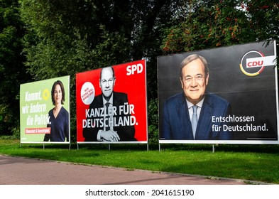 Soest, Germany - September 12, 2021: Election campaign posters of German political parties