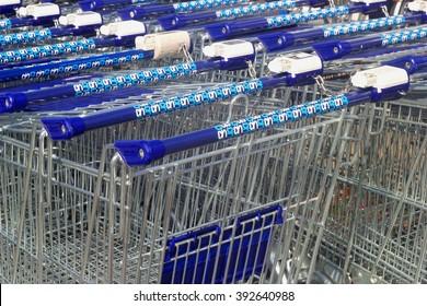 SOEST, NETHERLANDS - APRIL 1. AH logo of the Dutch Ahold Albert Heijn supermarket grocery on super market carts on April 1, 2016 in Soest.
