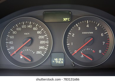 SOEST, THE NETHERLANDS, APRIL 2015. Closeup dashboard of mileage car, VOLVO C30.