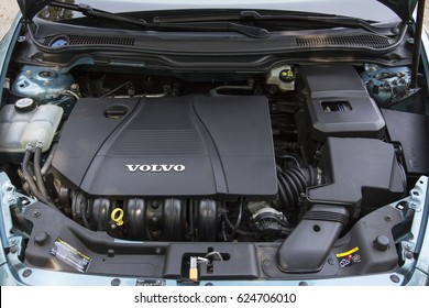 SOEST, THE NETHERLANDS, APRIL 2015. The engine of a VOLVO C30 1.8 Editorial use only.