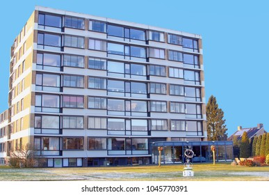 SOEST, NETHERLANDS - February 28, 2018. Front view of modern retirement home with glass windows, Dutch apartment flat for elderly care,  seniors and nursing facilities for old age people.