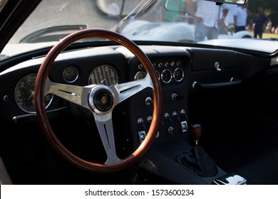 Soestdijk, The Netherlands - AUG 24, 2019: the interior of a classic Lamborghini  at Concours d'Elegance Paleis Soestdijk.