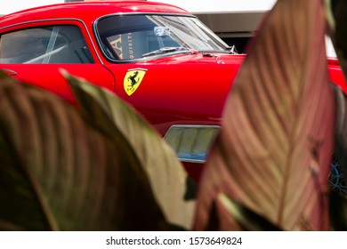 Soestdijk, The Netherlands - AUG 24, 2019: a classic Ferrari car shining at the static display at Concours d'Elegance Paleis Soestdijk.