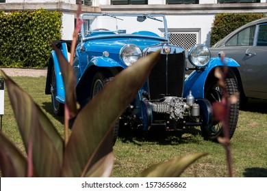 Soestdijk, The Netherlands - AUG 24, 2019: a vintage classic Bugatti car at the static display at Concours d'Elegance Paleis Soestdijk.
