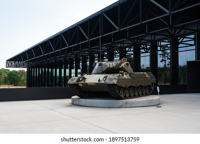 SOESTERBERG, NETHERLANDS - AUG 25, 2020: The exterior and entrance of the Nationaal Militair Museum at the former airbase of Soesterberg, Netherlands.
