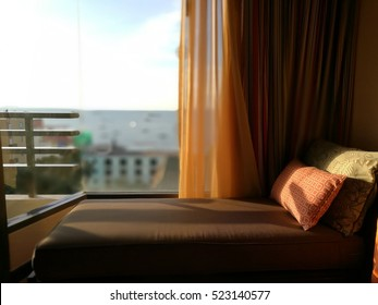 sofa bed with sea view window