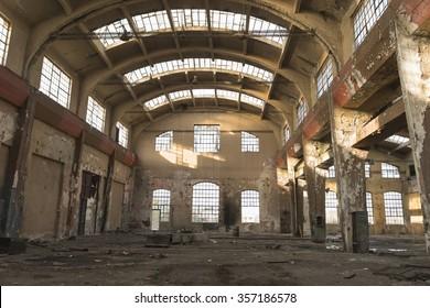 Sofa, Bulgaria - September 04, 2013: ruin of former locomotive factory in Sofia, Bulgaria.