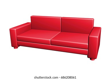Sofa button isolated, 3d illustration