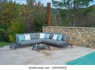 sofa by the pool